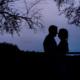 Plegdon barn wedding photography silhouette of bride and groom