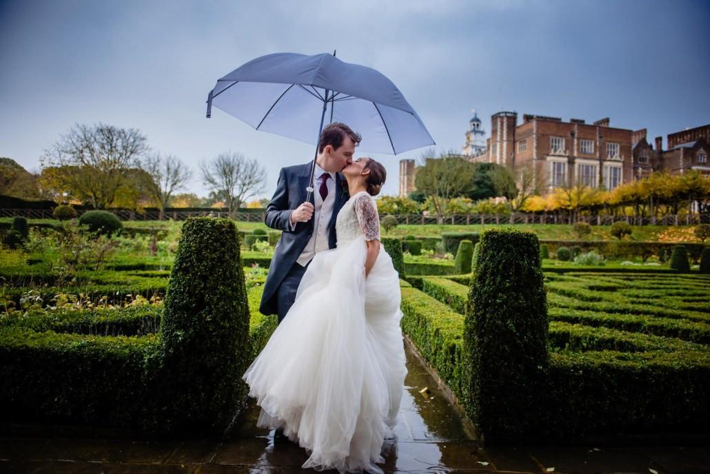 Rainy wedding at Hatfield House
