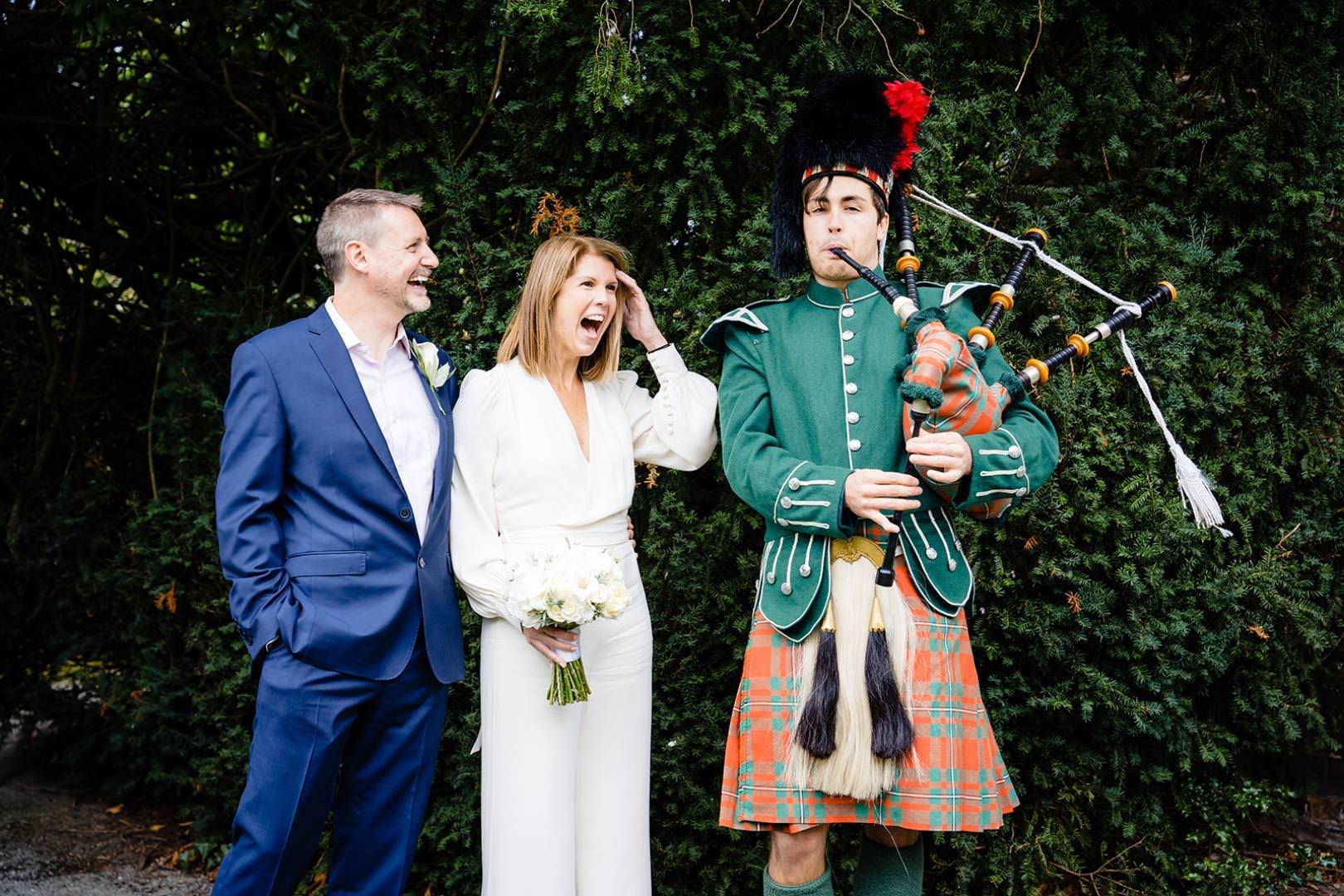 Bagpiper at Watford wedding