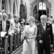 bride walking down the aisle at hertfordshire wedding
